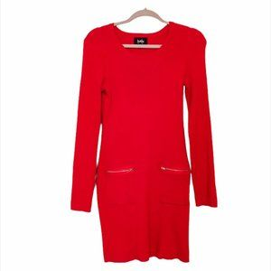 🦀2/$25 Red Sweater Dress with Gold Zipper Pockets